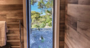 5 star accommodation on Kangaroo Island ;5 star accommodation; Kangaroo Island 5 star accommodation Sea Dragon Lodge; Deluxe Eco Villa; View from the Shower